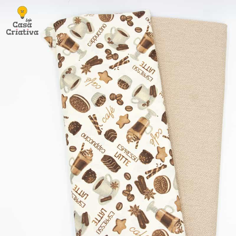 Composé Tricoline 100% Algodão - Café Com Leite - 50cmx150cm cada estampa
