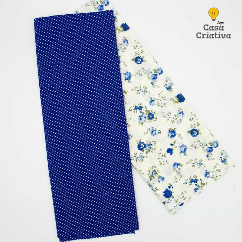 Composé Tricoline 100% Algodão - Floral Azul Poá - 50cmx150cm cada estampa