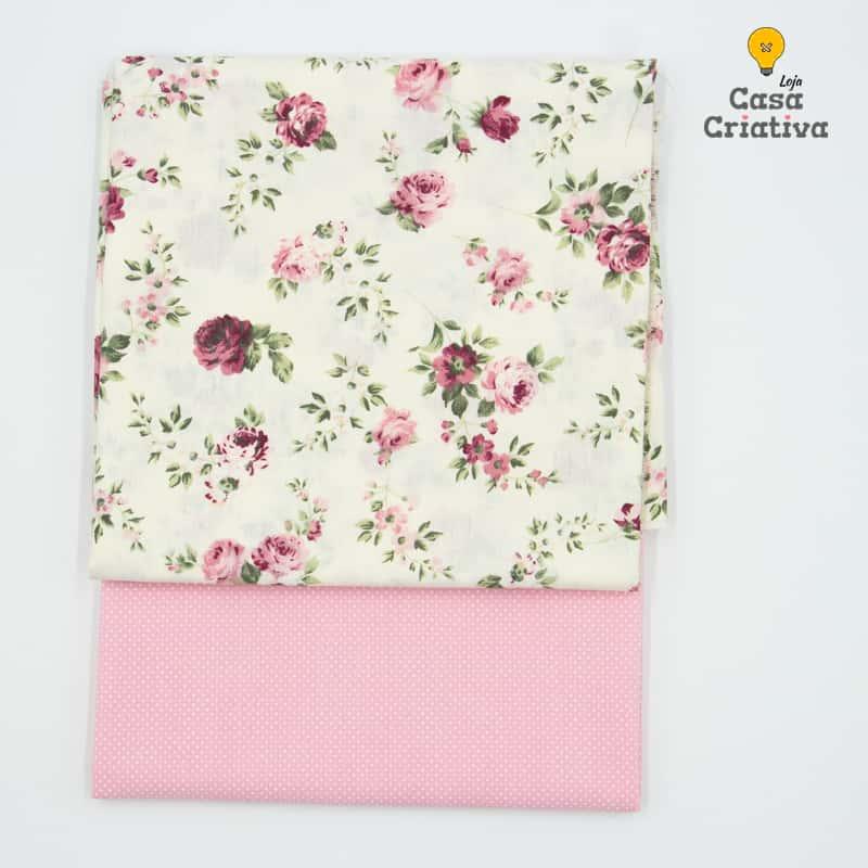 Composé Tricoline 100% Algodão - Floral Vermelho Com Micro Poá - 50cmx150cm cada estampa
