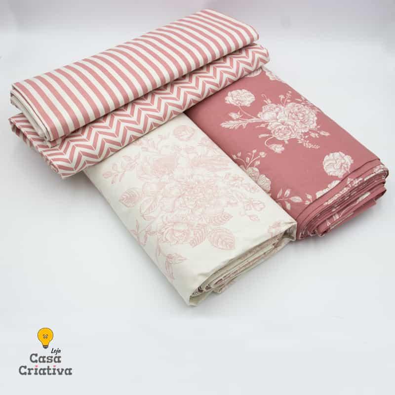 Composé Tricoline 100% Algodão - Rosas - 50cmx150cm cada estampa