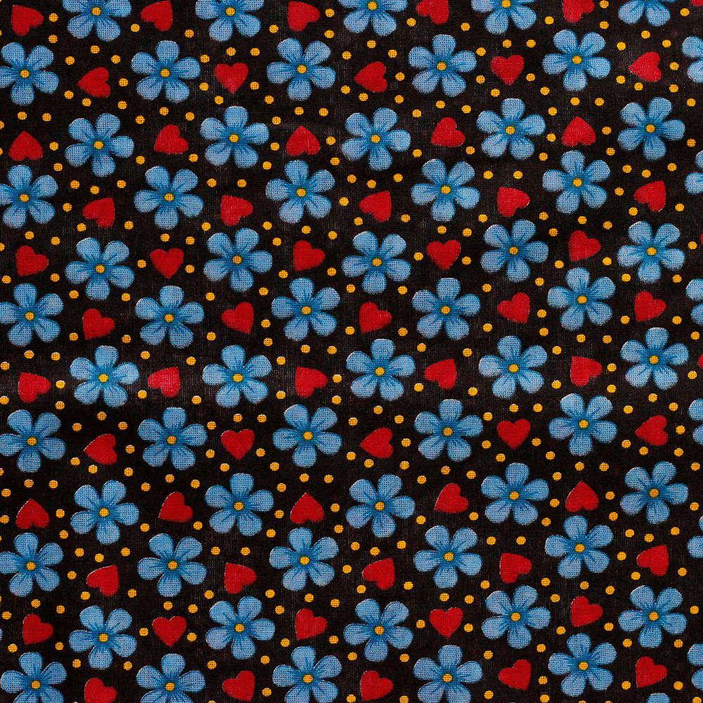 Chita Floral Pequeno Azul Fundo Preto 50cm x 140cm