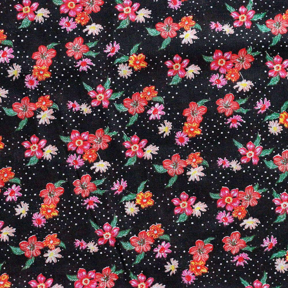 Chita Floral Pequeno Rosa Fundo Preto 50cm x 140cm
