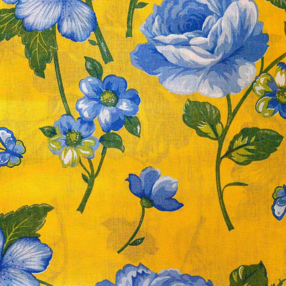 Chita Floral Azul Fundo Amarelo