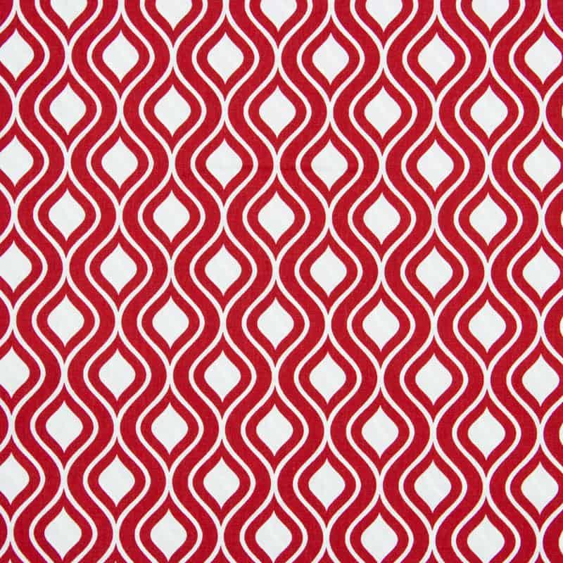 Tecido Tricoline Estampado - Ondas Vermelho - 50cm X150cm