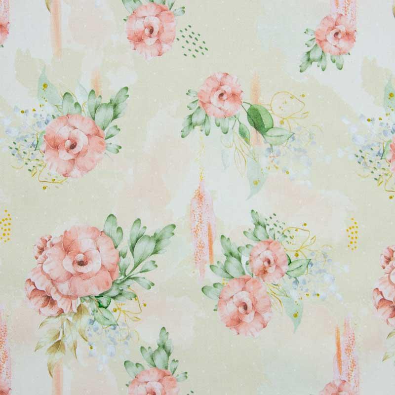 Cris Mazzer - Coleção Sarja Aquarela Flores Rosa - 50cm X150cm