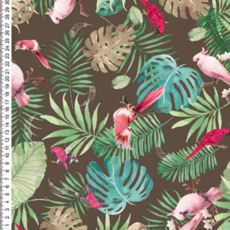Cris Mazzer - Coleção Sarja Pássaro Rosa- 50cm X150cm