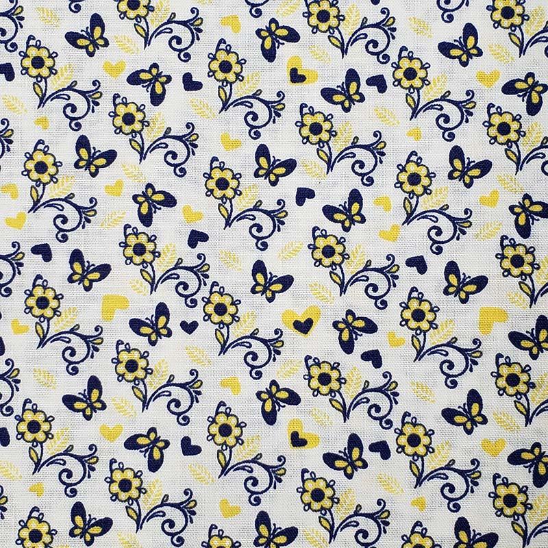 Cris Mazzer - Estampa Borboletas Azul - 50cm x 150cm