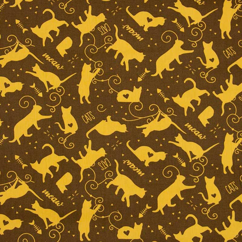 Cris Mazzer - Estampa Composê #TBT Gato Mostarda - 50cm x 150cm