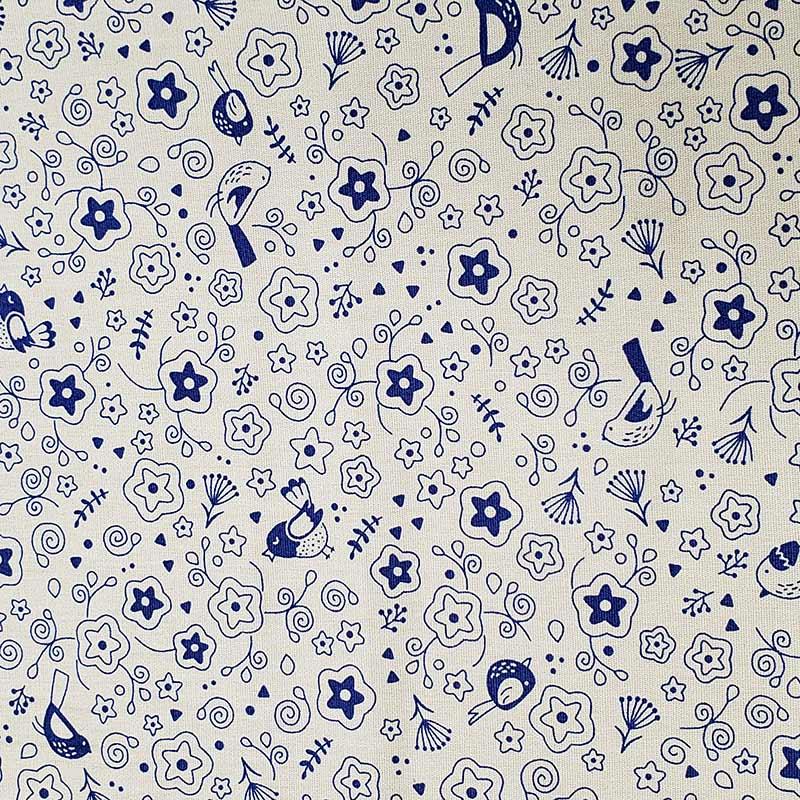 Cris Mazzer - Estampa Composê #TBT Passarinhos Bege - 50cm x 150cm