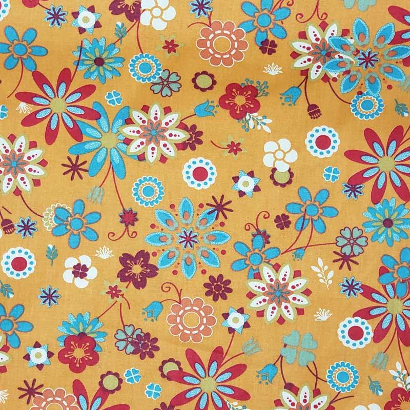 Cris Mazzer - Estampa Floral Laranja - 50cm x 150cm