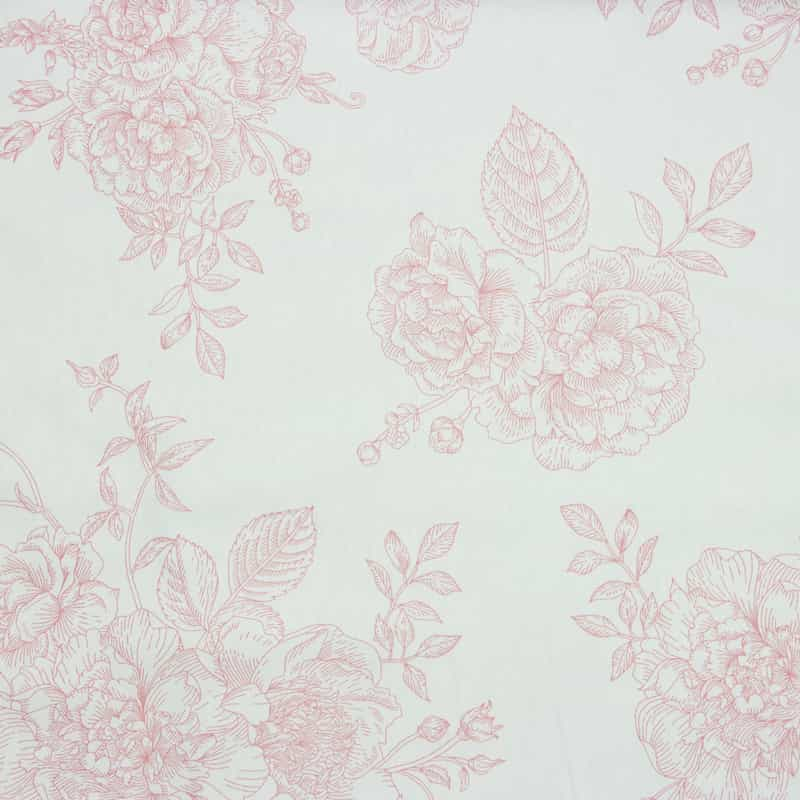 Cris Mazzer - Estampa Flores Rosa e Off White - 50cm x 150cm