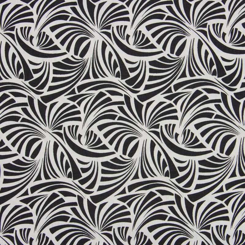 Cris Mazzer - Estampa Vintage Preto Leque - 50cm x 150cm