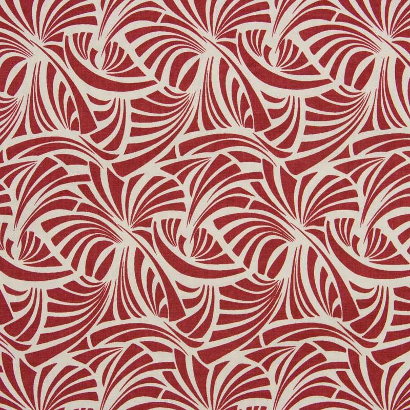 Cris Mazzer - Estampa Vintage Vermelho Leque - 50cm x 150cm