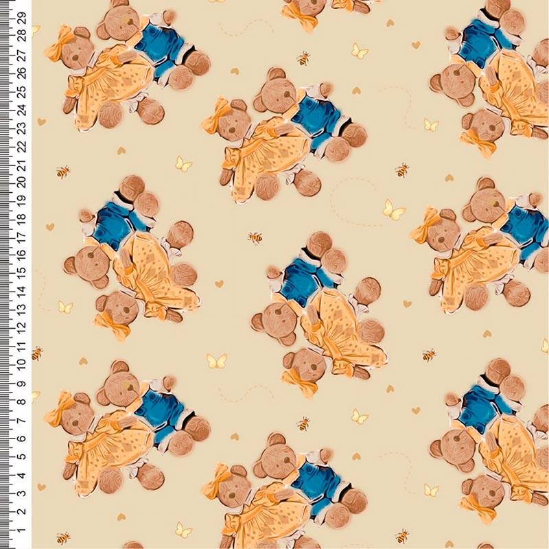 Cris Mazzer - Ursinhos Rose Perucci Bege- 50cm x 150cm