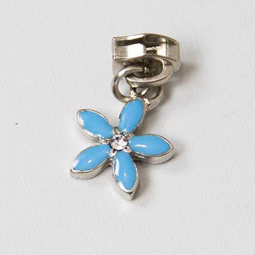 Cursor Flor Azul Niquelado Nº 5 com Strass