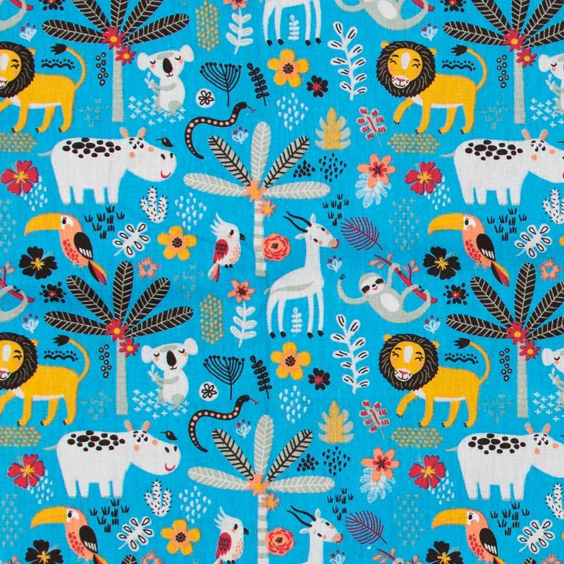 Decorart - Animais Floresta Com Fundo Azul Francia - 50cm x 150cm