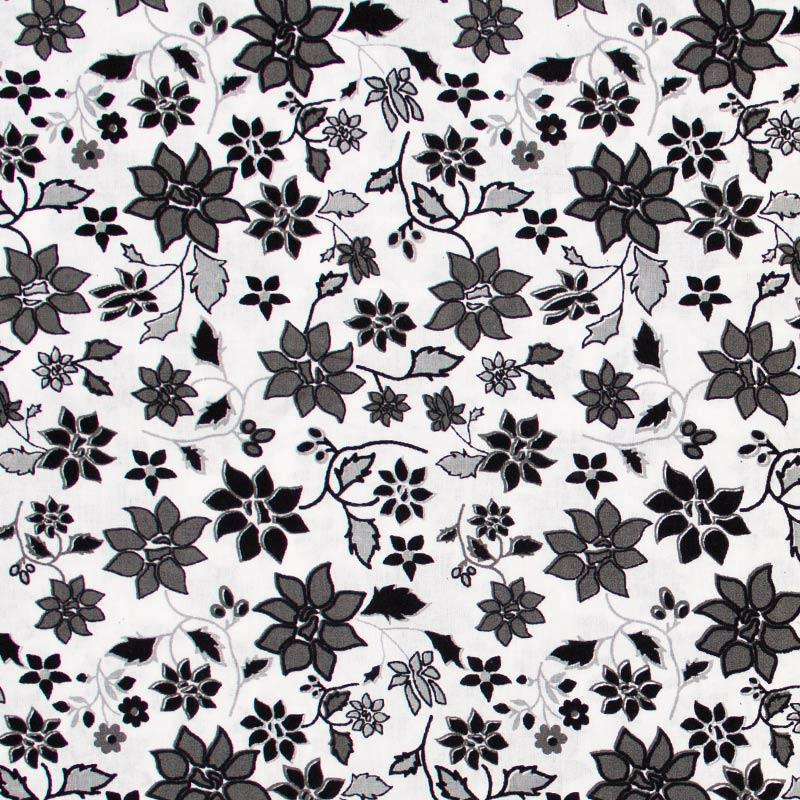 Decorart - Flores/Folhas Com Fundo Branco - 50cm x 150cm