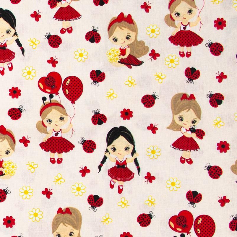 Decorart - Meninas Joaninhas Com Fundo Rosa - 50cm x 150cm