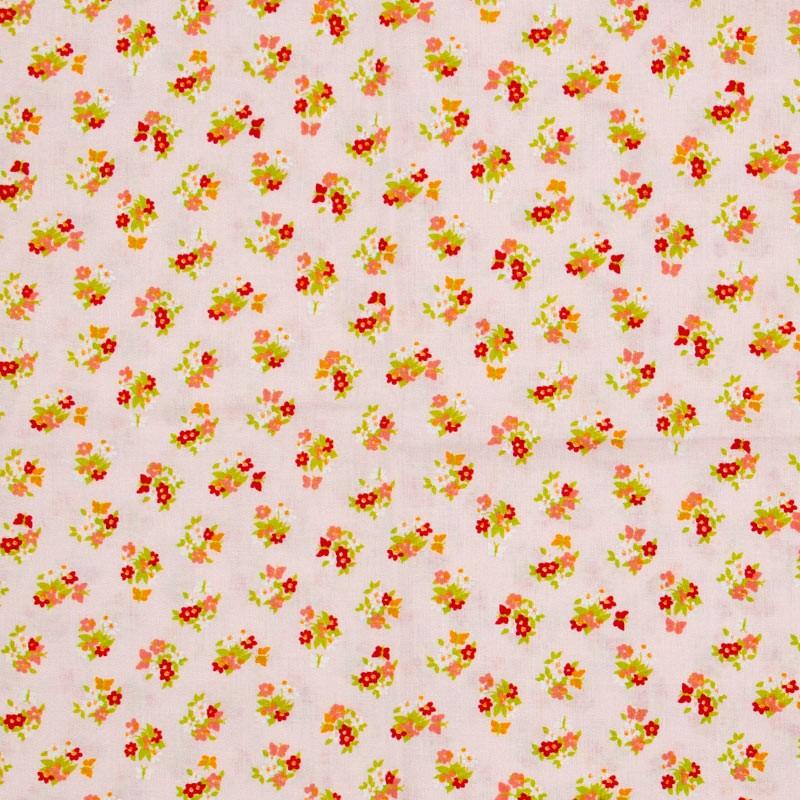 Decorart - Mini Floral Vermelho Com Fundo Rosa - 50cm x 150cm