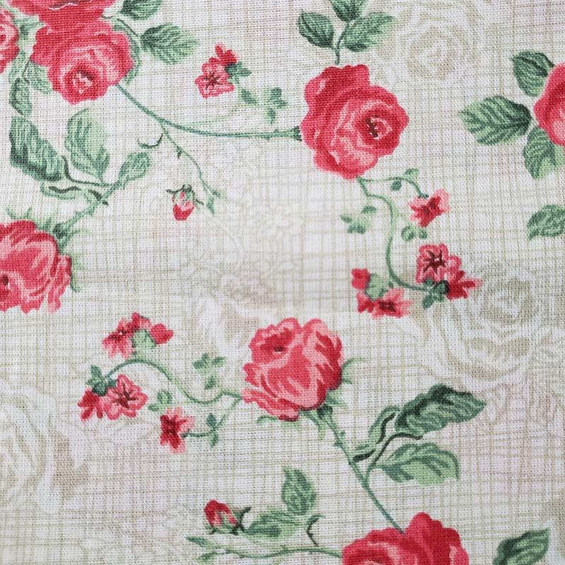 Decorart - Rosas fundo Bege - 50cm x 150cm