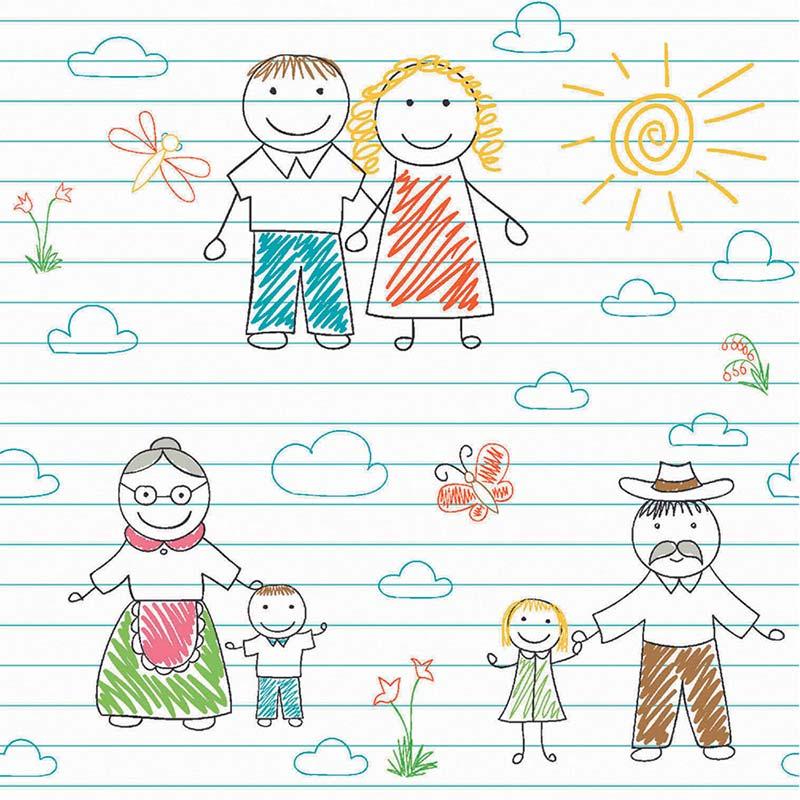 Fabricart Coleção My Family - Estampa Família ao Sol 50cmX150cm