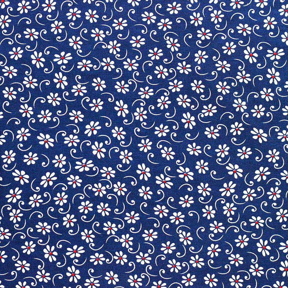 Estampa Floral Branco Fundo Azul Marinho