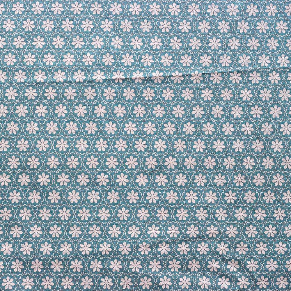 Estampa Floral Branco Fundo Azul Tiffany