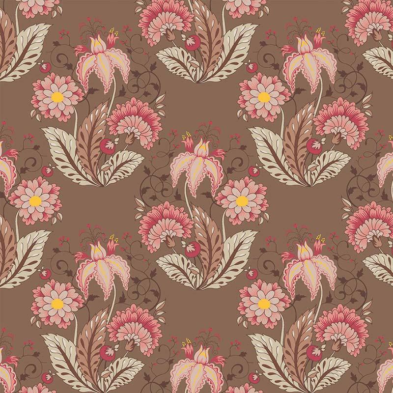 Fabricart Coleção Jacobean - Floral Jacobean Marrom 50cm X150cm