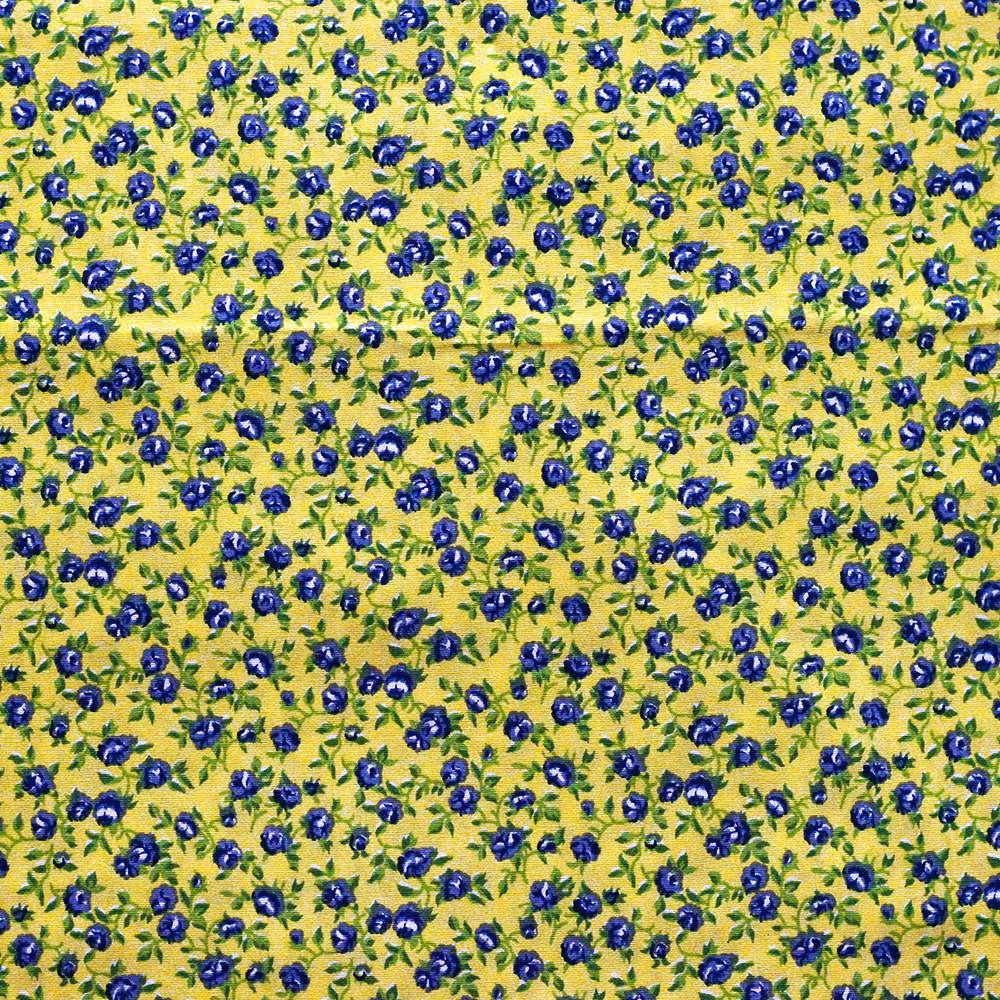 Estampa Floral Marinho Fundo amarelo