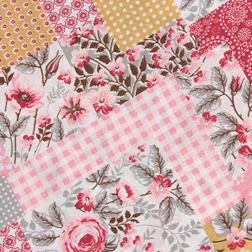 Estampa Floral Patchwork - 50cm x 220cm
