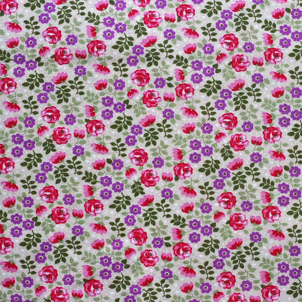 Estampa Floral Rosa e Roxo Fundo Verde Claro