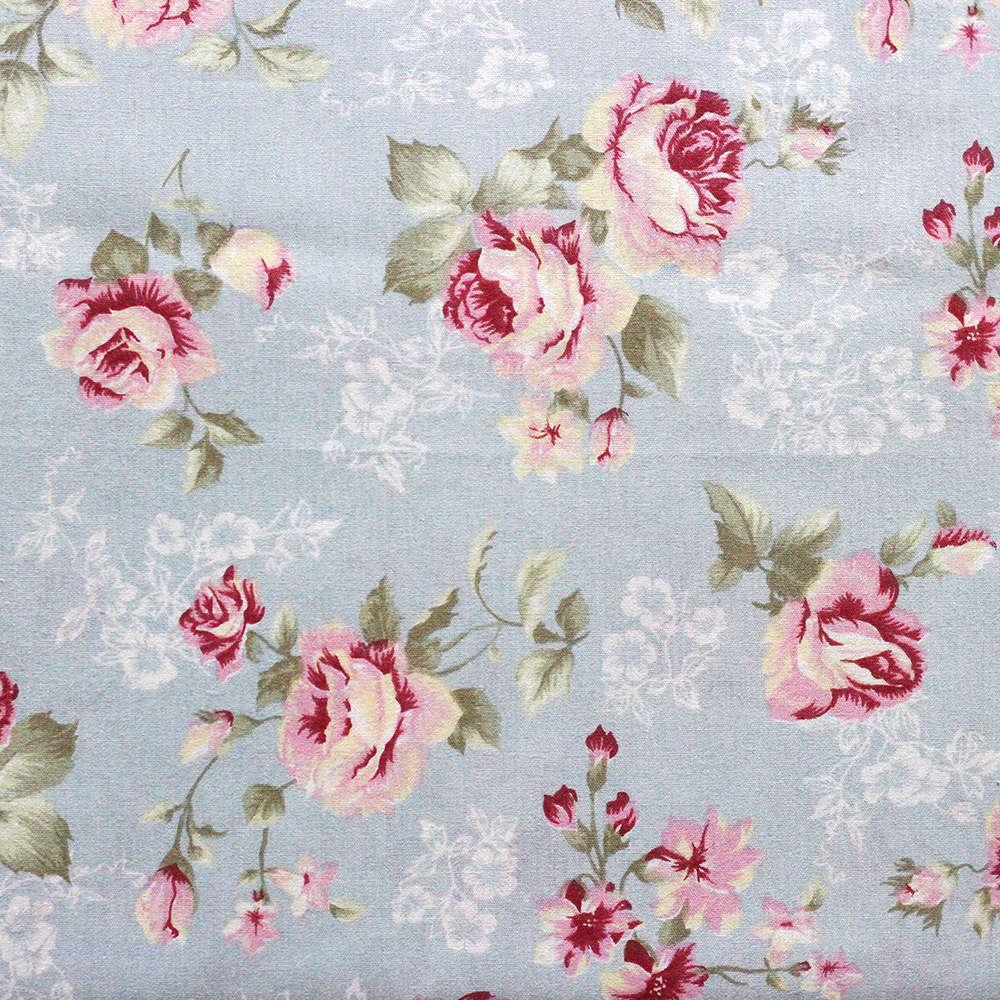 Estampa Floral Rosa Fundo Azul Claro