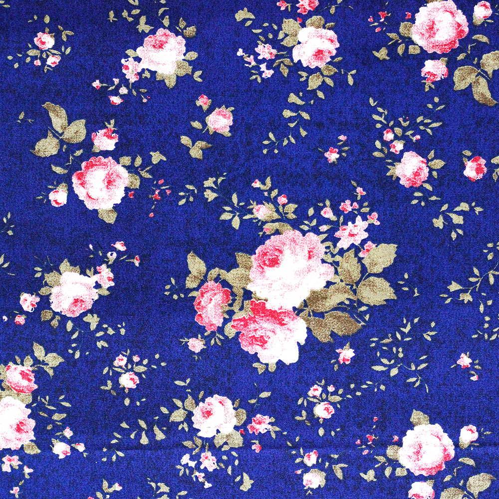 Estampa Floral Rosa Fundo Marinho