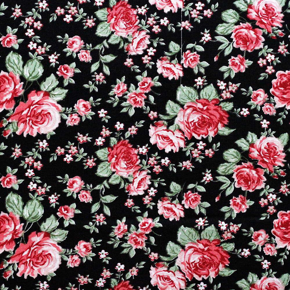 Estampa Floral Rosa Fundo Preto