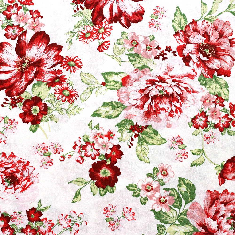 Estampa Floral Vermelho Fundo Branco