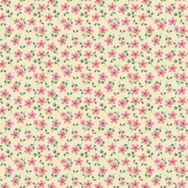 Estampa Garden Micro Floral Rosa e Amarelo