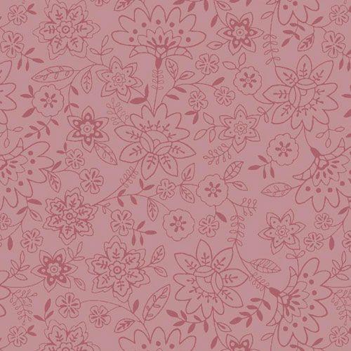Estampa Jardim Flores Linha Fundo Rosa - 50cm x 140cm