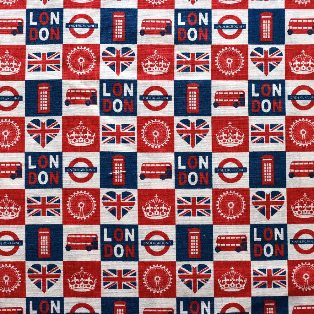 Estampa Londres Azul e Vermelhp
