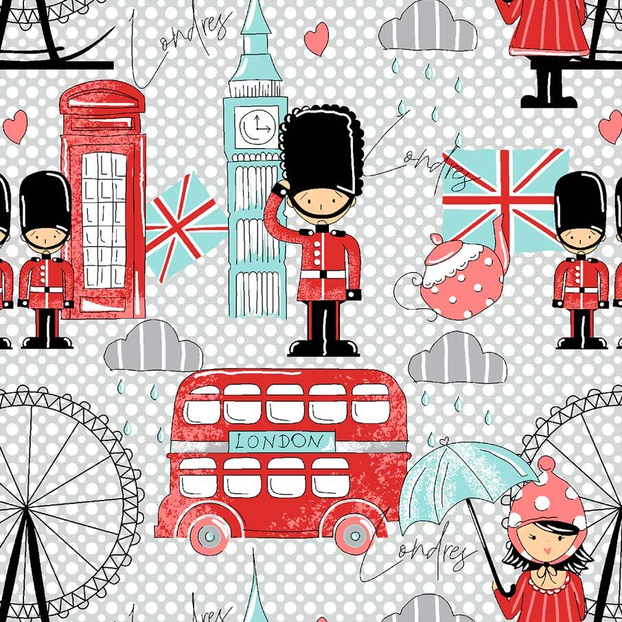 Estampa Londres Fundo Poá Cinza e Branco