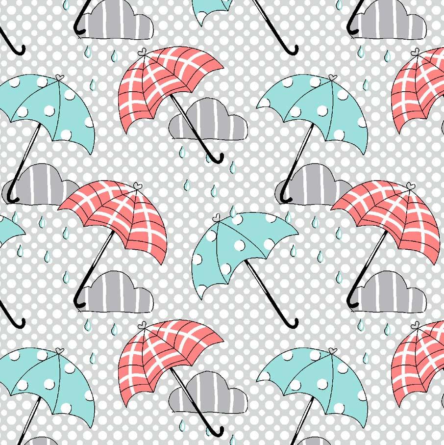Estampa Londres Umbrella Fundo Poá Cinza e Branco