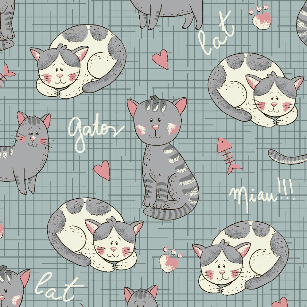 Estampa Melhores Amigos Gato Azul