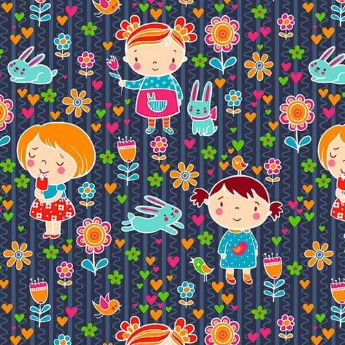 Fabricart - Coleção 116 Colors - Estampa Meninas Campestre - 50cm X150cm