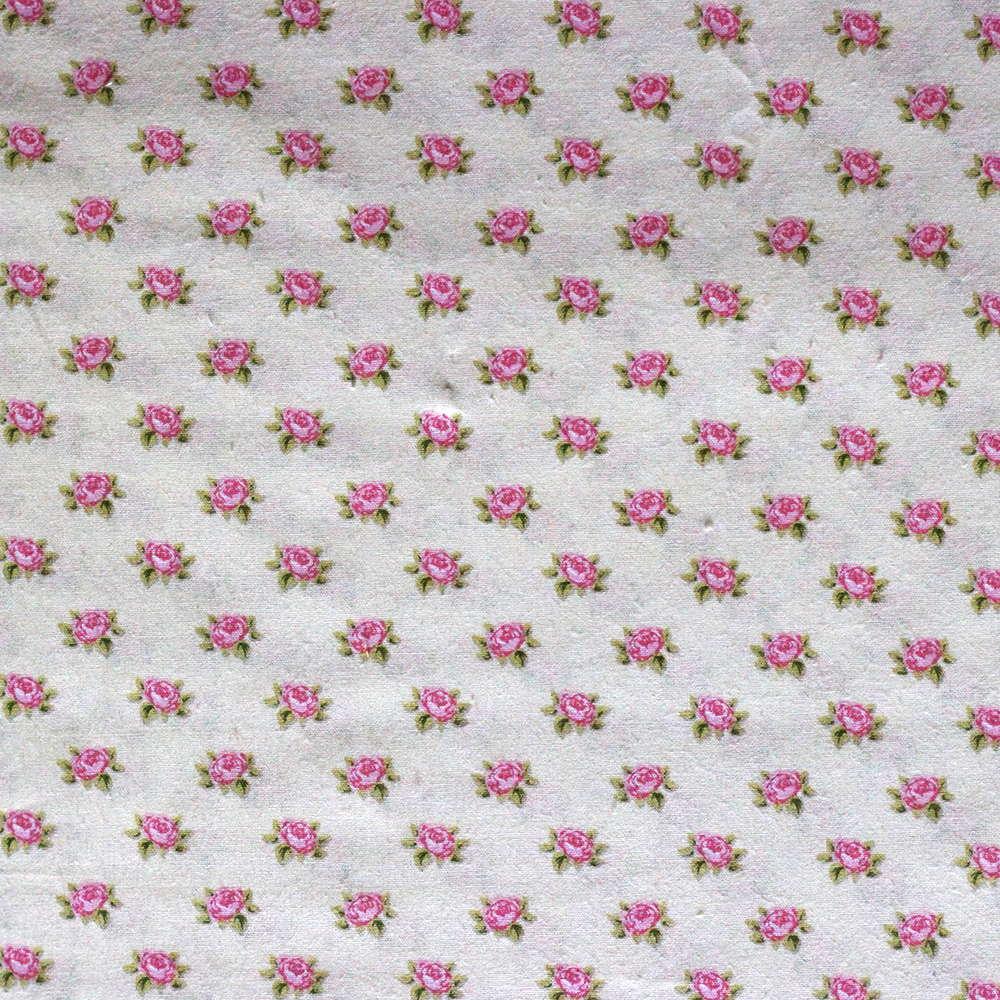 Estampa Micro Floral Rosa Fundo Amarelo