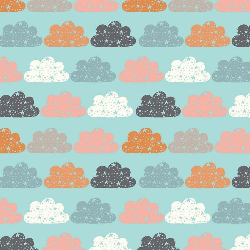 Fabricart Coleção Brilha Estrelinha - Nuvem Color Azul - 50cm X150cm