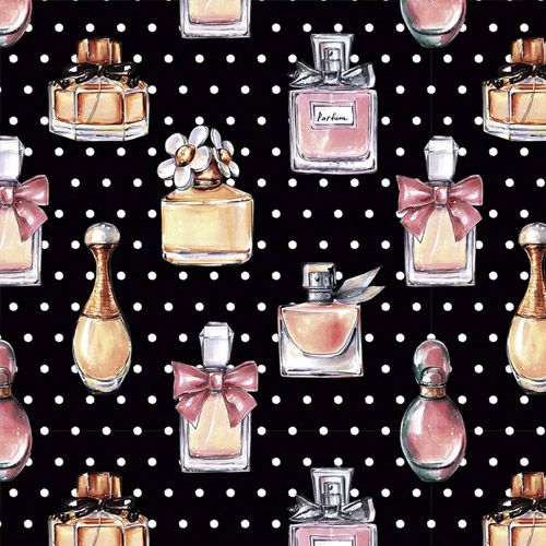 Estampa Perfumes Fundo Preto