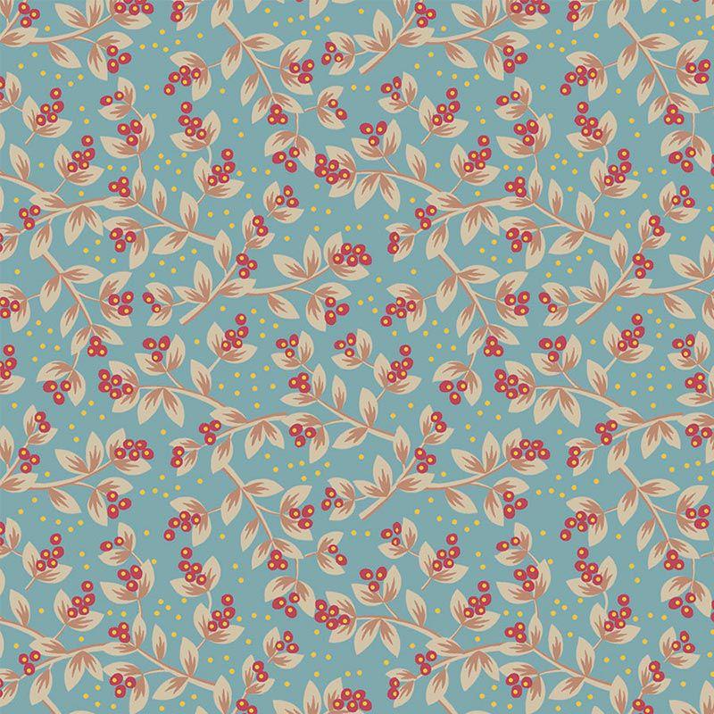 Fabricart Coleção Jacobean - Sementes Acqua Vermelho 50cm X150cm