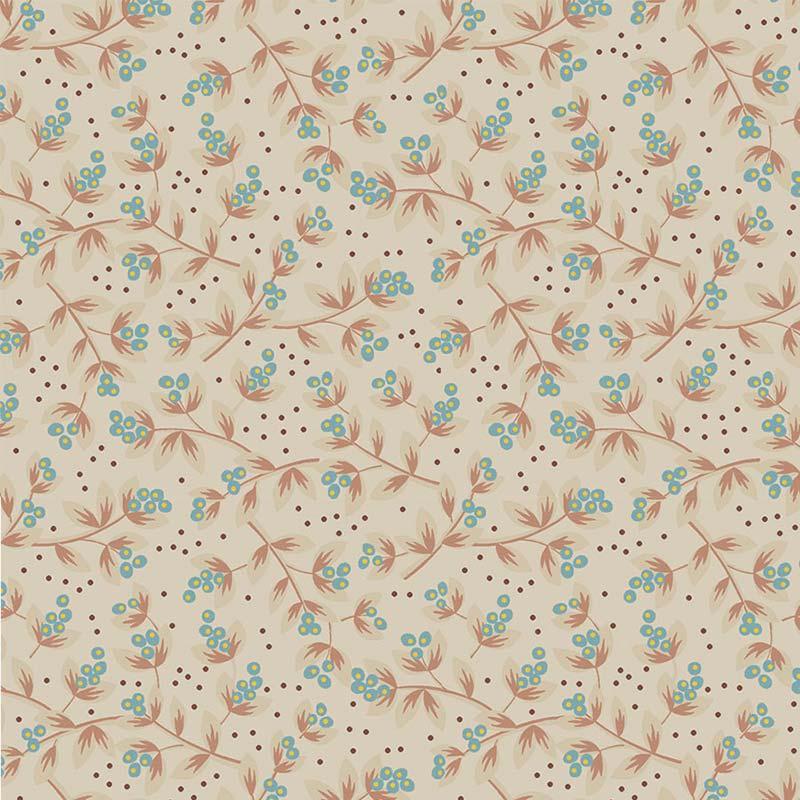 Fabricart Coleção Jacobean - Sementes Jacobean Creme Acqua 50cm X150cm
