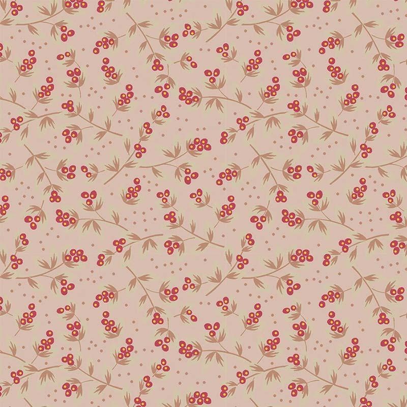 Fabricart Coleção Jacobean - Sementes Rosê Vermelho 50cm X150cm