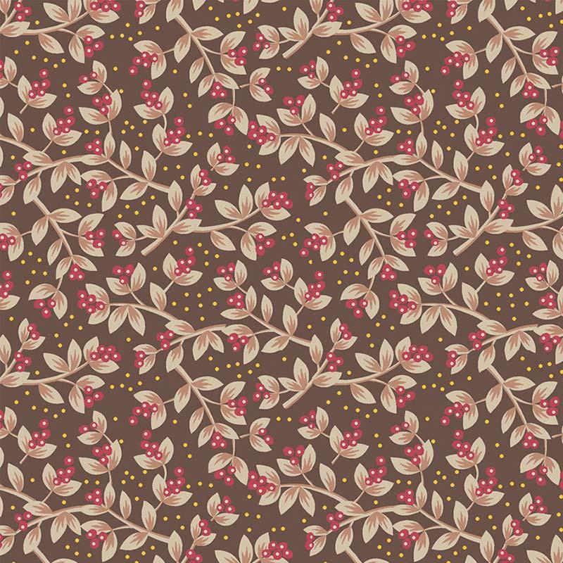 Fabricart Coleção Jacobean - Sementes Marrom Vermelho 50cm X150cm