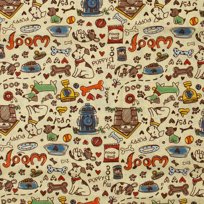 Estilotex - Cachorros Fundo Creme - 50cm x 150cm